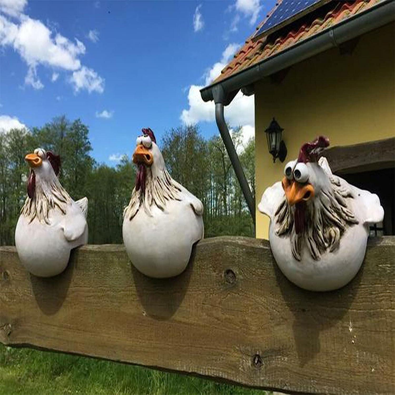 Lekgymr Funny Chicken Fence Decoration Statues for Garden Stairs, Farm, Patio, Backyard, Resin Craft Chicken Hen Sculpture Outdoor Statue Housewarming Art Decor Gift