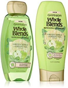 Garnier Whole Blends Refreshing Shampoo and Conditioner Set, Green Apple and Green Tea extracts, 12.5 ounces each