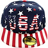 Falari USA American Flag Printed Baseball Cap Snapback Adjustable Size