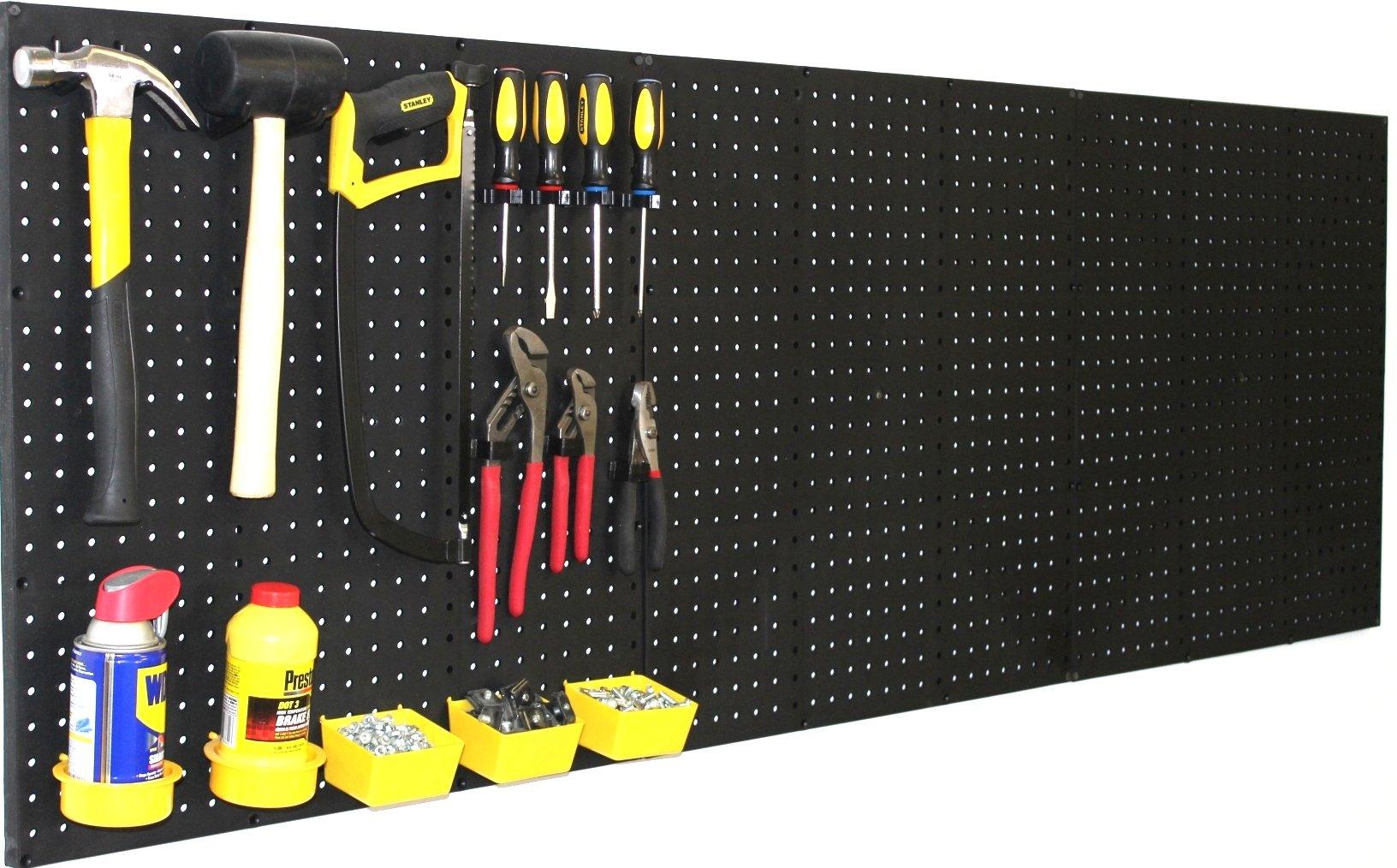 "WallPeg (4) Black Plastic Pegboard Panels – 96"" Wide Garage Tool Pegboard – AM 212"