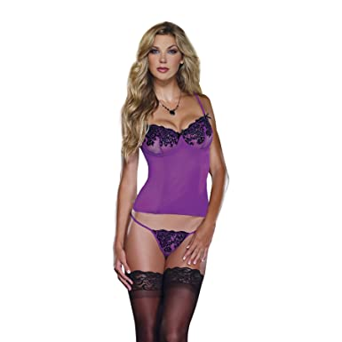 5bbbbdcbeaa Dreamgirl Stretch Mesh Bustier with Embroidered Lace Orchid Black 32