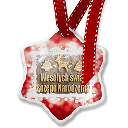 christmas ornament merry christmas in polish from poland red neonblond