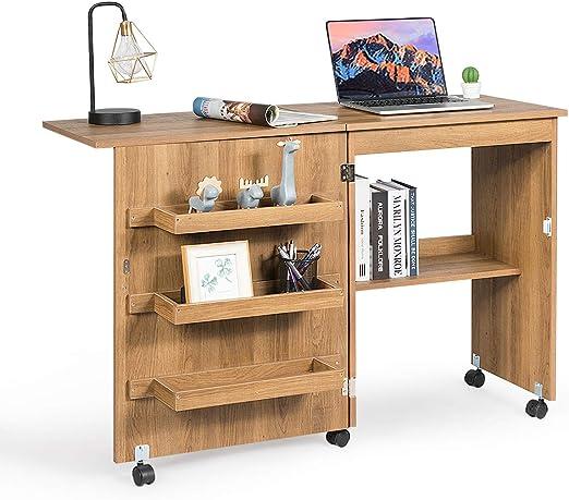 COSTWAY - Mesa Plegable para máquina de Coser con 3 estantes para ...