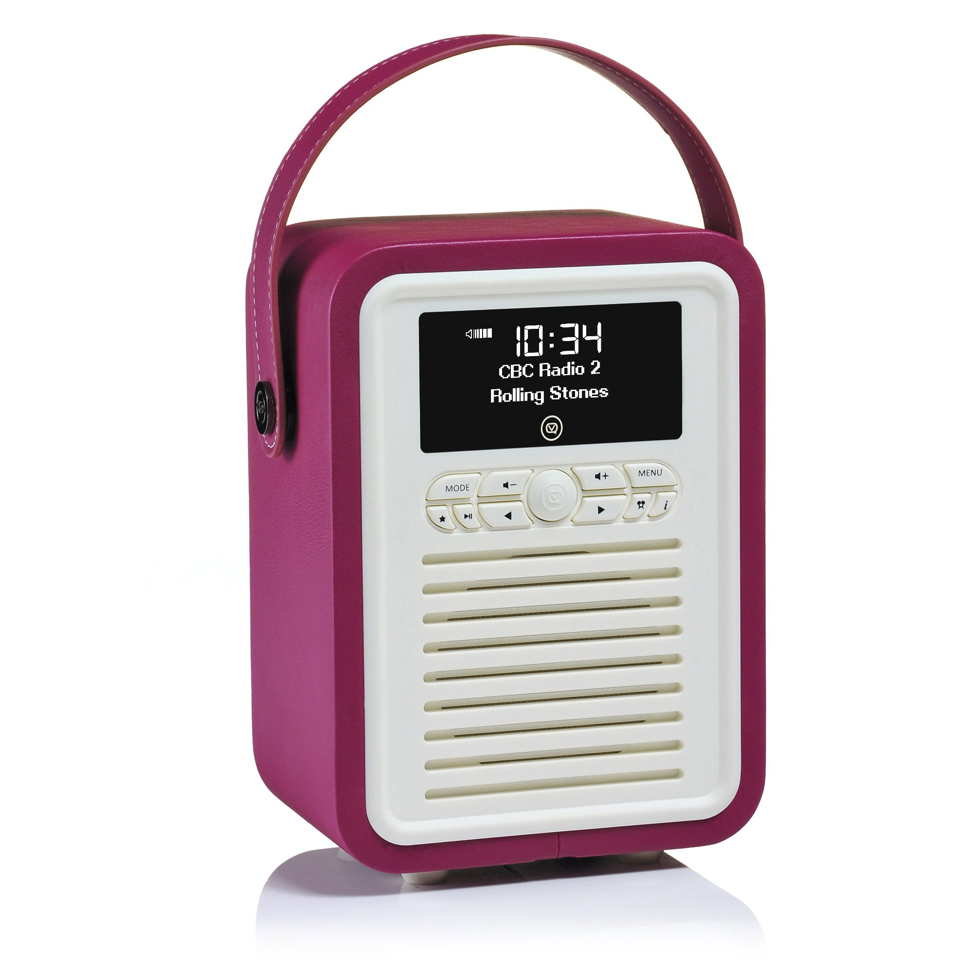 VQ | Retro Mini – Bluetooth Speaker and Digital Radio with FM & HD-FM, Dual Alarm Clock & Mains/Battery Powered - Purple