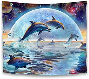 Tapestry Wall Hanging, Moon Night Dolphin Tapestry Wall Decor for Bedroom College Dorm Room - 51.2 x 59.1 inches
