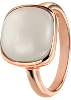 Elements Silver Women's 925 Sterling Silver Rose Gold Square Cabochon Moonstone Earrings