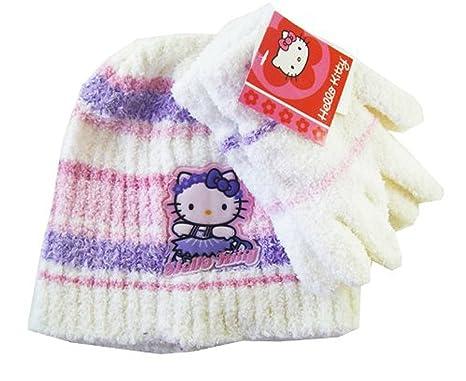 Amazon.com: Blanco y Morado Rayas Hello Kitty Beanie y ...