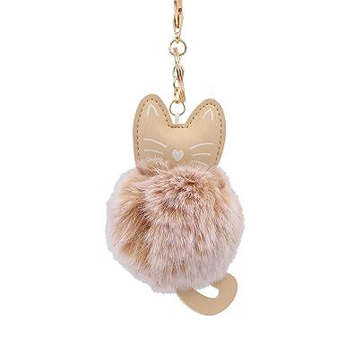 Amazon.com: Llavero con diseño de gato y gatito de piel ...