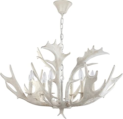Safavieh CHA4003A Lighting Collection Birch 30″ Antler White Chandelier