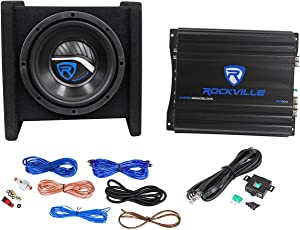 "Rockville RV8.1A 400w 8"" Loaded Car Subwoofer Enclosure+Mono Amplifier+Amp Kit"