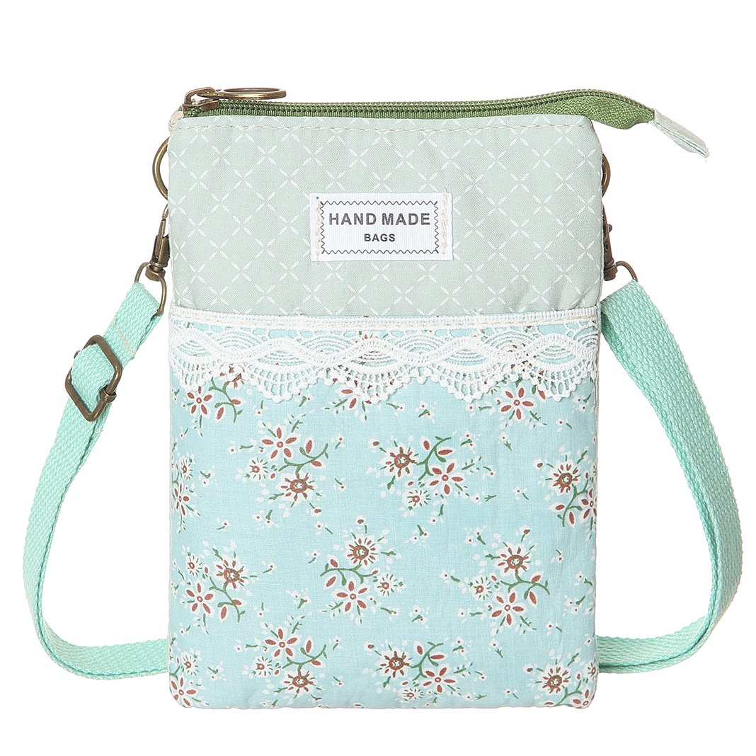 Cell Phone Purse Wallet Lace Canvas Small Crossbody Bags For Women(Green)