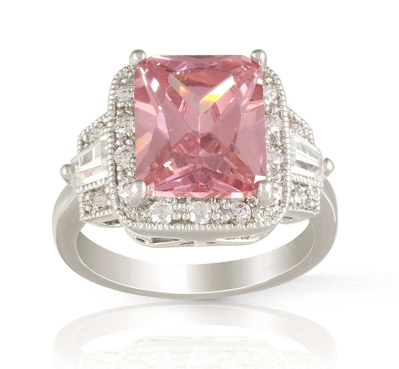 Amazon.com: JanKuo Jewelry Rhodium Plated Engagement Emerald Cut ...