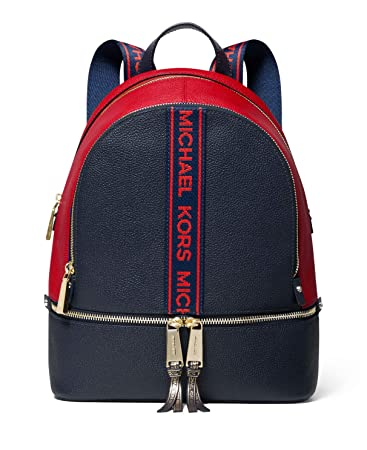 bbe748d456d9 Amazon.com | MICHAEL Michael Kors Rhea Zip Medium Backpack (Admiral/Red) |  Casual Daypacks