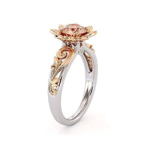 ff56d45fe74b8 Amazon.com: Moissanite Engagement Ring 14K White & Rose Gold Ring ...