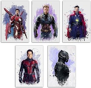 Marvel Poster Superhero Wall Art - Avenger Endgame Canvas Print Bedroom Kids Room Decor Watercolor Picture Captain America/Black Panther/Iron Man/Set of 5 Hero Painting 8''x12'' Unframed