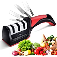 Knife Sharpener, Easy Manual Sharpening, 3 Stage Knife Sharpening Tool Sharpens Chef's Knives - Kitchen Accessories Help…