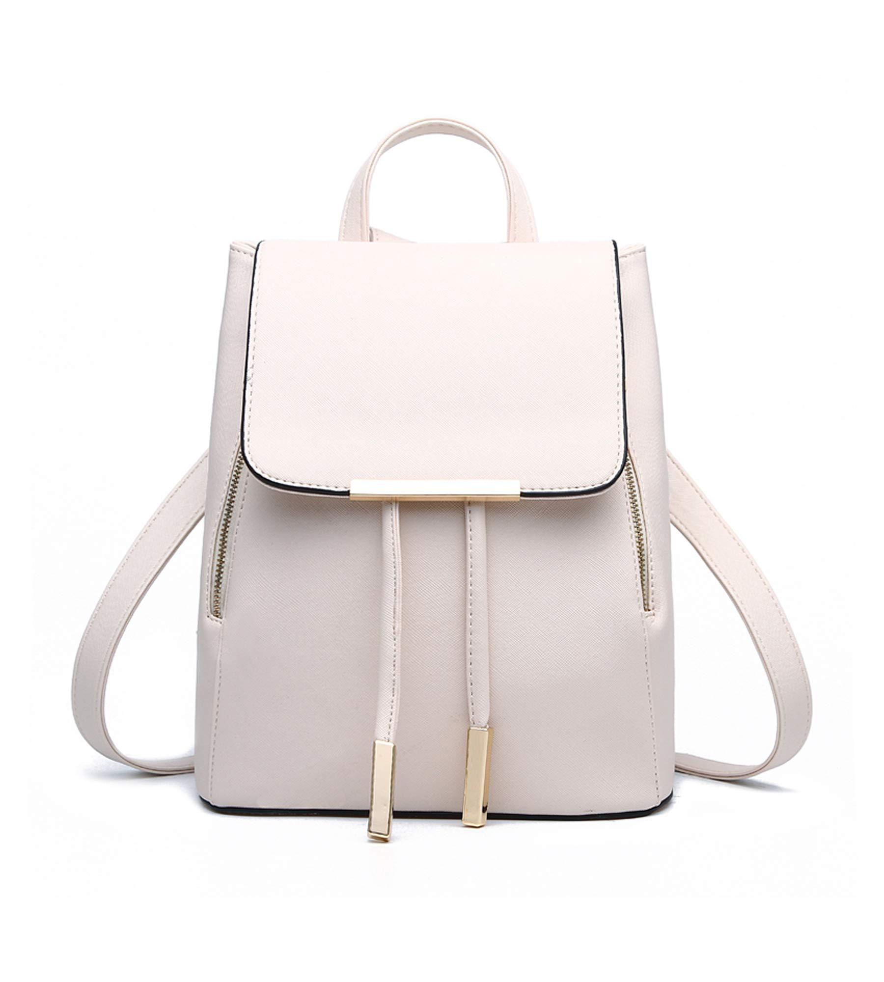 EUPHIE YING Shoulder Bag Rucksack PU Leather Women Girls Ladies Backpack Travel bag, White
