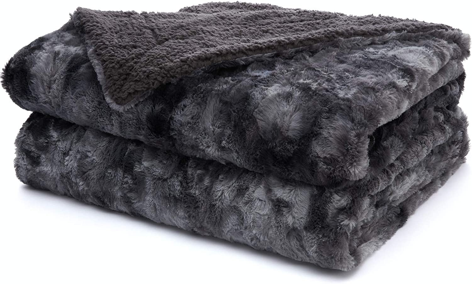 The Connecticut Home Company Faux Fur Bed Throw Blanket, Twin Size, 80x60, Many Colors Soft Large Plush Luxury Reversible Blankets, Warm Hypoallergenic Washable Throws for Couch or Beds, Gray Tie Dye