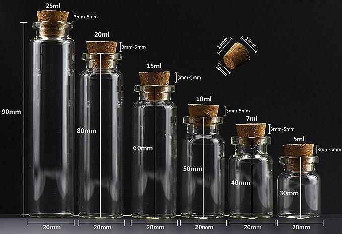 MINGZE 20 Piezas 20 ML Pequeñas Botellas de Cristal Botellas de Vidrio Pequeñas Frascos de Muestra con Tapones de Corcho para decoración de DIY, ...