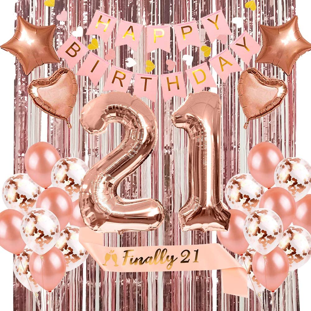 21st Birthday Decorations Party Supplies Kit for Her Include Finally 21st Birthday Sash, Birthday Banner, Number 21 Birthday Balloons, Rose Gold Curtain, Heart & Star Foil Balloon, Latex Balloons