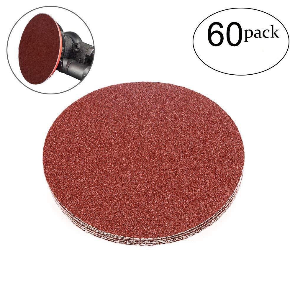 HIFROM 5 Inch Sanding Discs NO-Hole Hook and Loop 40 Grit Sandpaper Aluminum Oxide Random Orbital Sander Pads (60-Pack)