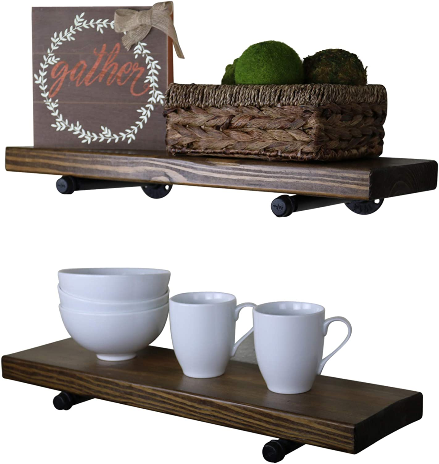 24 Inch, Barnwood Brown The Weathered Collection SDI Designs Rustic Farmhouse Floating Shelf Set