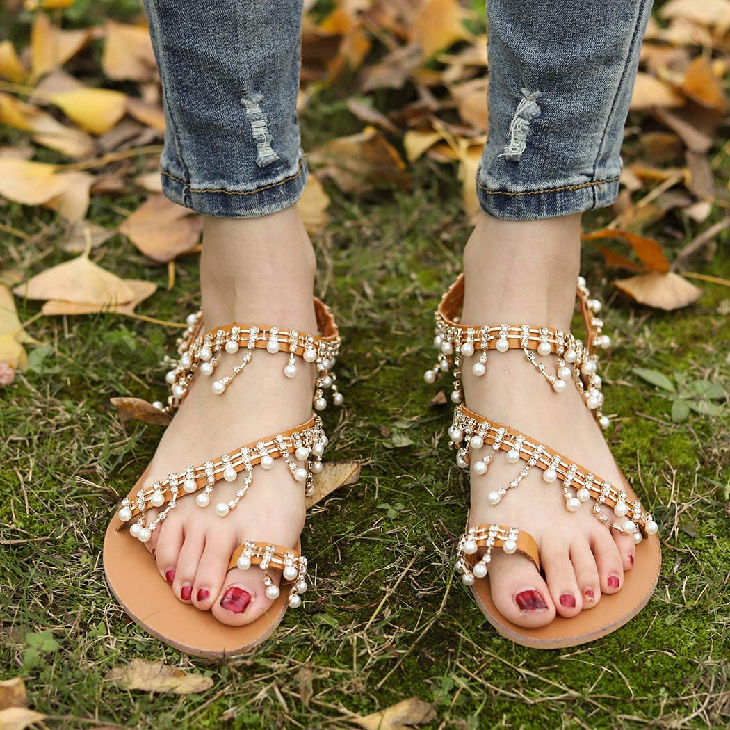 Raylans Womens Summer Clip Toe Beads Pearl Beach Flip Flops Flat Sandals Bohemia Flat Sandals