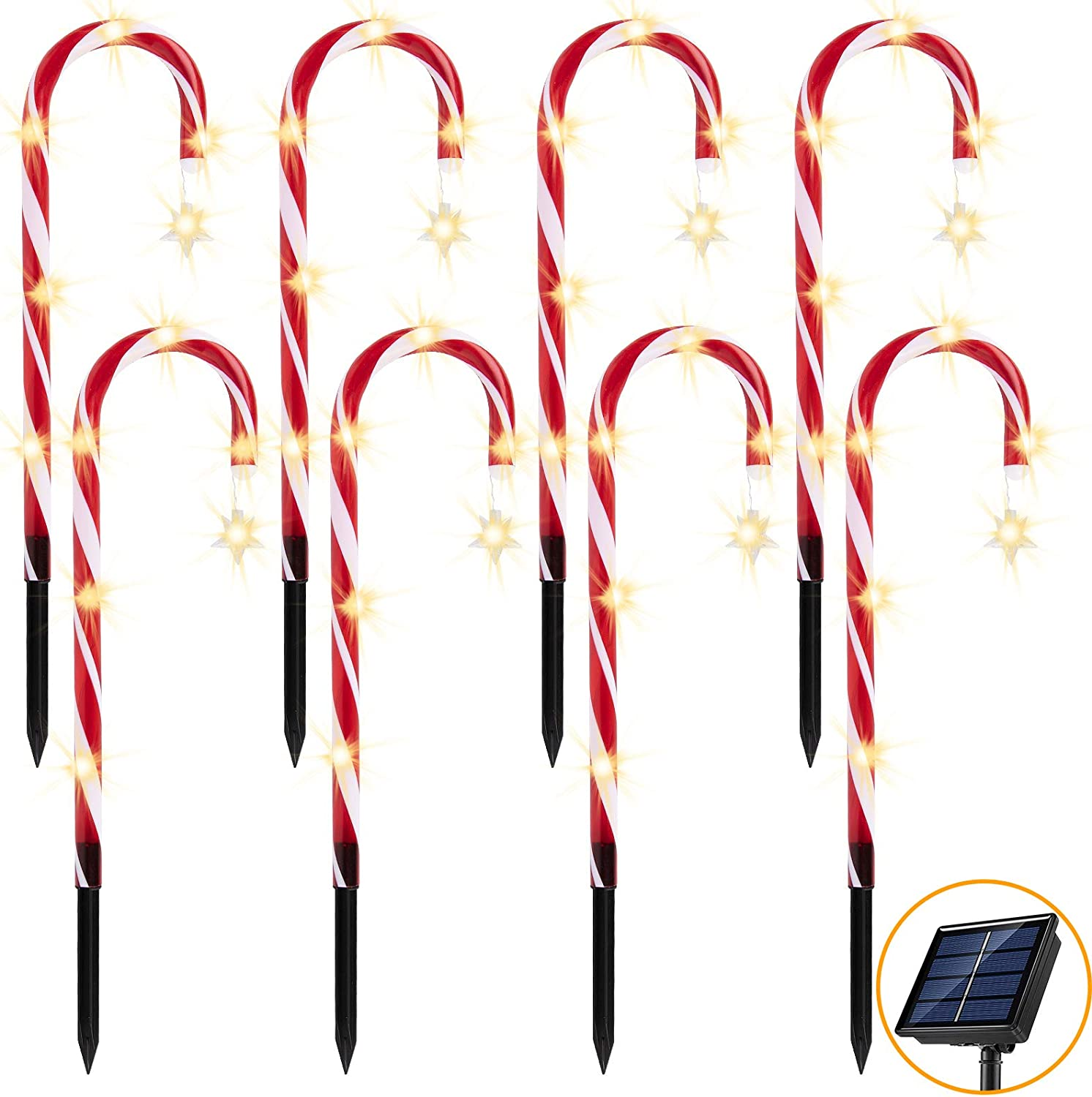 AmnoAmno Christmas Solar Candy Cane Stars Lights Outdoor Pathway Driveway Markers Decoration Set of 8 Red and White Xmas Home Indoor Decor