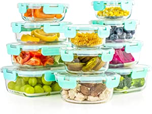 Glass Food Storage Containers with Lids, [22 Piece] Glass Meal Prep Containers with Hinged Locking lids, BPA Free & Leak Proof (11 lids & 11 Containers)