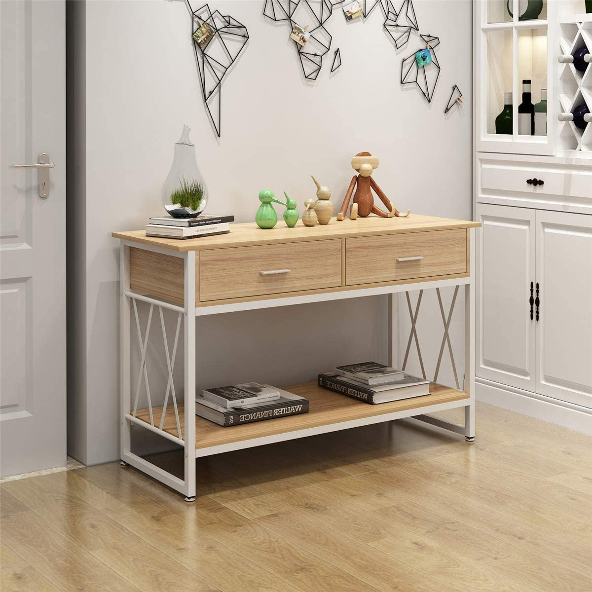 Console Table,47 Industrial Entryway Table,Sofa Table with Drawers,2-Tier Hallway Table for Entryway,Entertainment Center Media Stand with Storage Shelf for Living Room, Corridor
