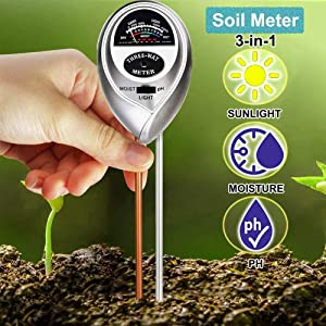 Soil pH Meter, 3-in-1 Soil Moisture Meter/Light/pH Tester Gardening Tool Kits for Plant Care, Great for Garden, Lawn, Farm, Indoor & Outdoor Use