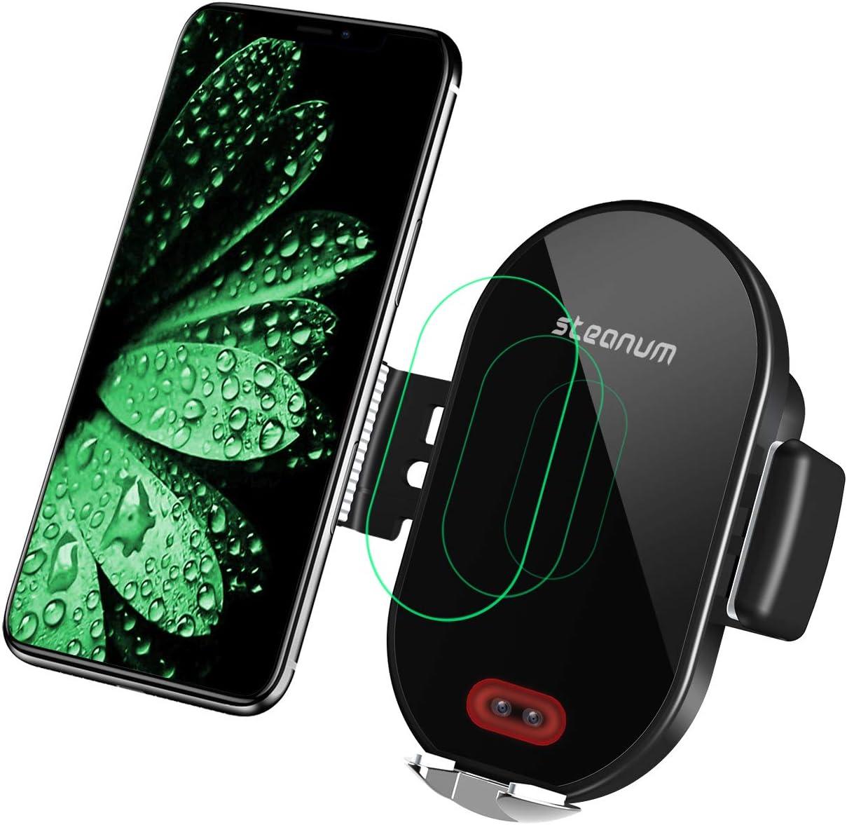 steanum Cargador inalámbrico Coche, Qi 10W Rápida Carga Sensor Infrarrojo Soporte Móvil con Rejilla Compatible con Galaxy s9/s9+/s8/s8+/s7, 7.5W Compatible para iPhone 11/11 Pro/XS/XS Max/XR/X/8/8+