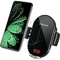 steanum Wireless Charger Auto, Qi Ladestation Auto Infrarot Induction KFZ handyhalter Auto mit ladefunktion für iPhone 11 Pro Max/Xs Max/XR/X/8 8Plus, Galaxy S10/9/8/7/6, Note 5/8/9, Schwarz
