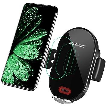 steanum Cargador inalámbrico Coche, Qi Rápida Carga Soporte Sensor Infrarrojo Pinza Auto para Móvil con Rejilla Compatible con Galaxy ...