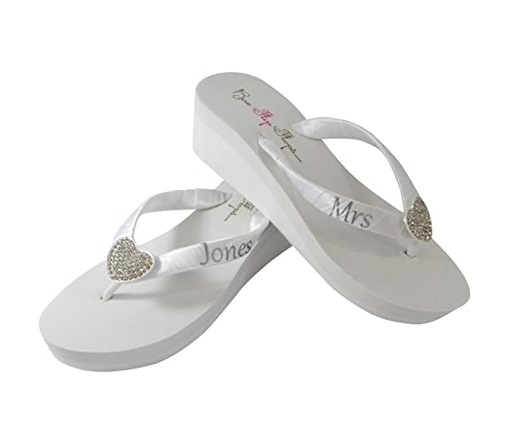 d4a689ecfba741 Amazon.com  Cute Silver   White or Ivory Wedding Flip Flops with ...