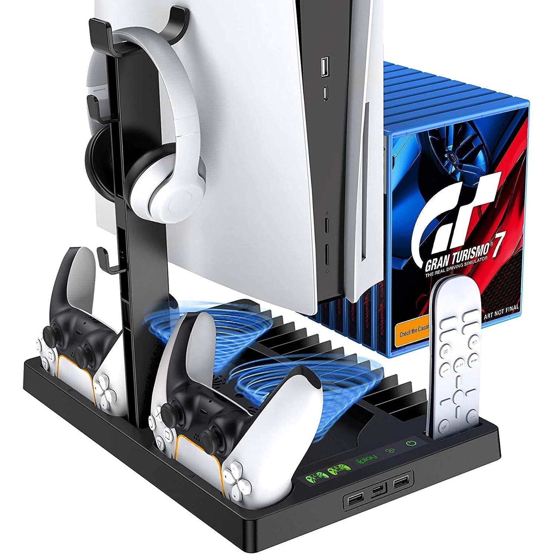 블랙 PS5 콘솔 PLAYSTATION5 개 충전소와 냉각 팬 시스템 15 게임 슬롯 수직을 위해 서 PS5 디지털 EDITION | ULTRA HD 콘솔 PS5 주최자 부속품