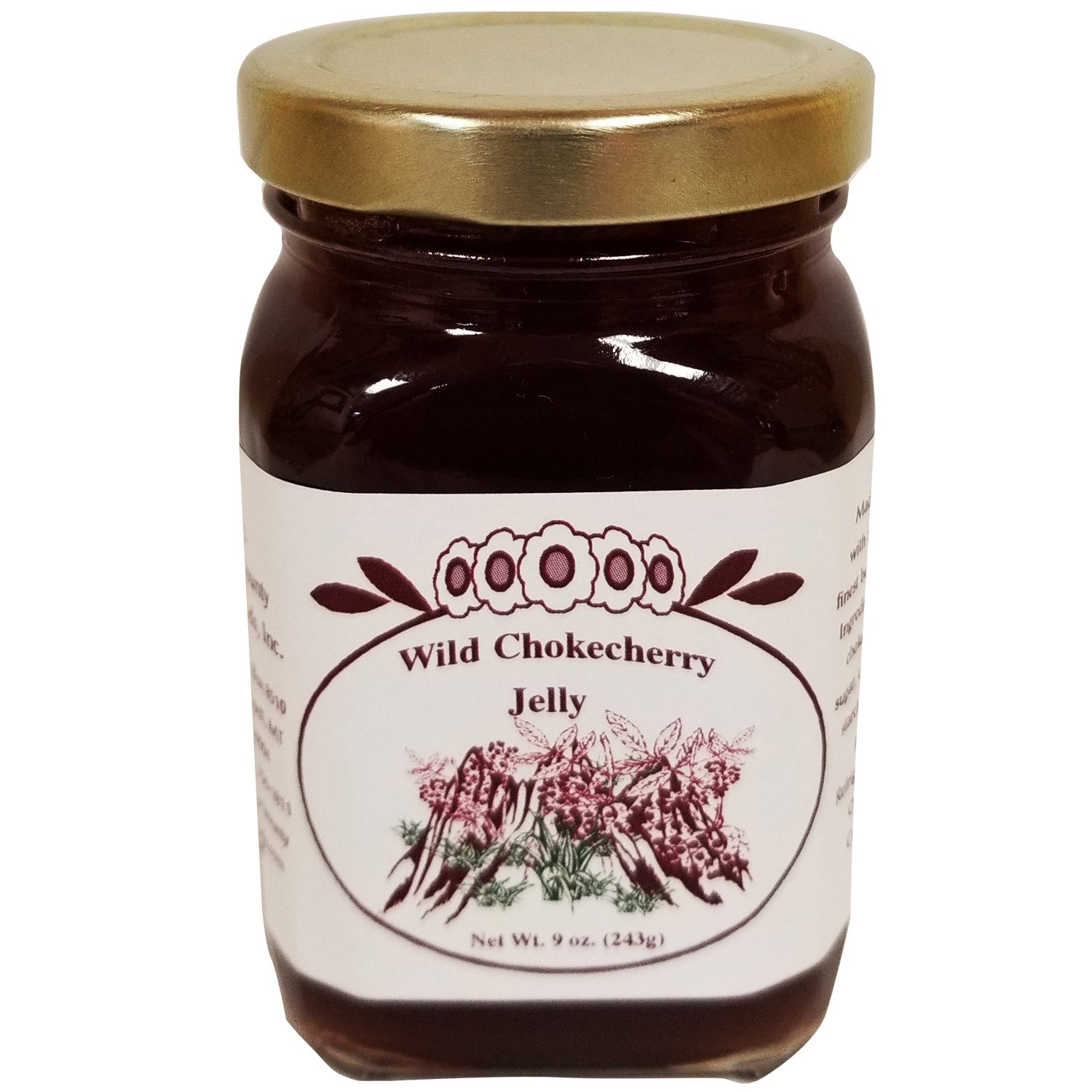 Chokecherry Jelly 9oz Fresh Real Wild Montana Grown from Bounty Foods Natural Fresh Real Fruits & Herbs Gluten-Free Non-GMO Toppings Dessert Fillings Breakfast Essentials (Chokecherry Jelly, 9oz)