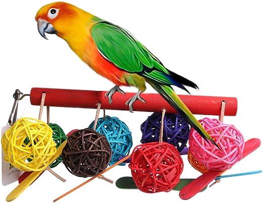 Parrot Toy Bird Bell Ball For Parakeet Cockatiel Chew Fun Cage Pet Bird Toy A-L