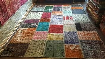 Teppich 200x300  Teppich Patchwork Vintage bunt / 200 x 300 / used Look / beige ...