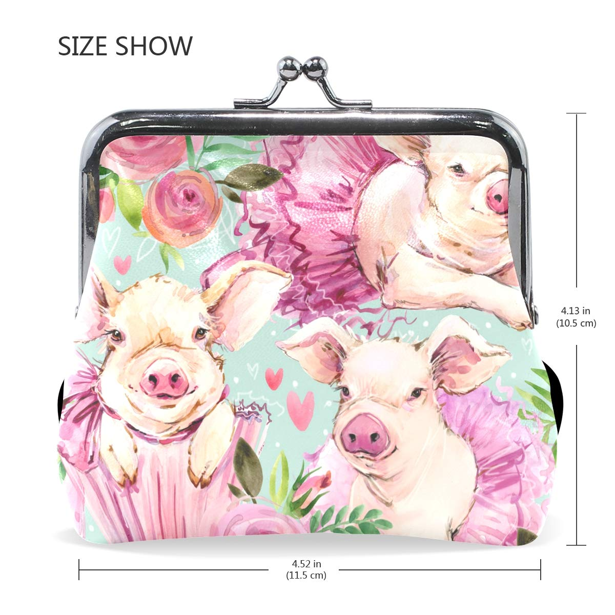 Amazoncom Funny Animal Cute Pigs Leather Coin Purse Clasp