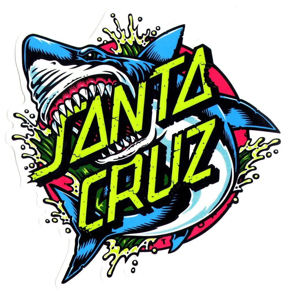 Santa cruz skateboard surf sticker shark dot approx 15 5cm wide surfing skating board surfboard skateboards amazon canada