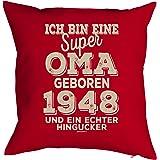 Veri zum 70. Geburtstag Jahrgang geboren 1948 Geschenk Oma für Sie Frau Deko Kissenbezug Oma Hingucker Print Text Geburtstagsgeschenk Kissenhülle 40x40 cm :