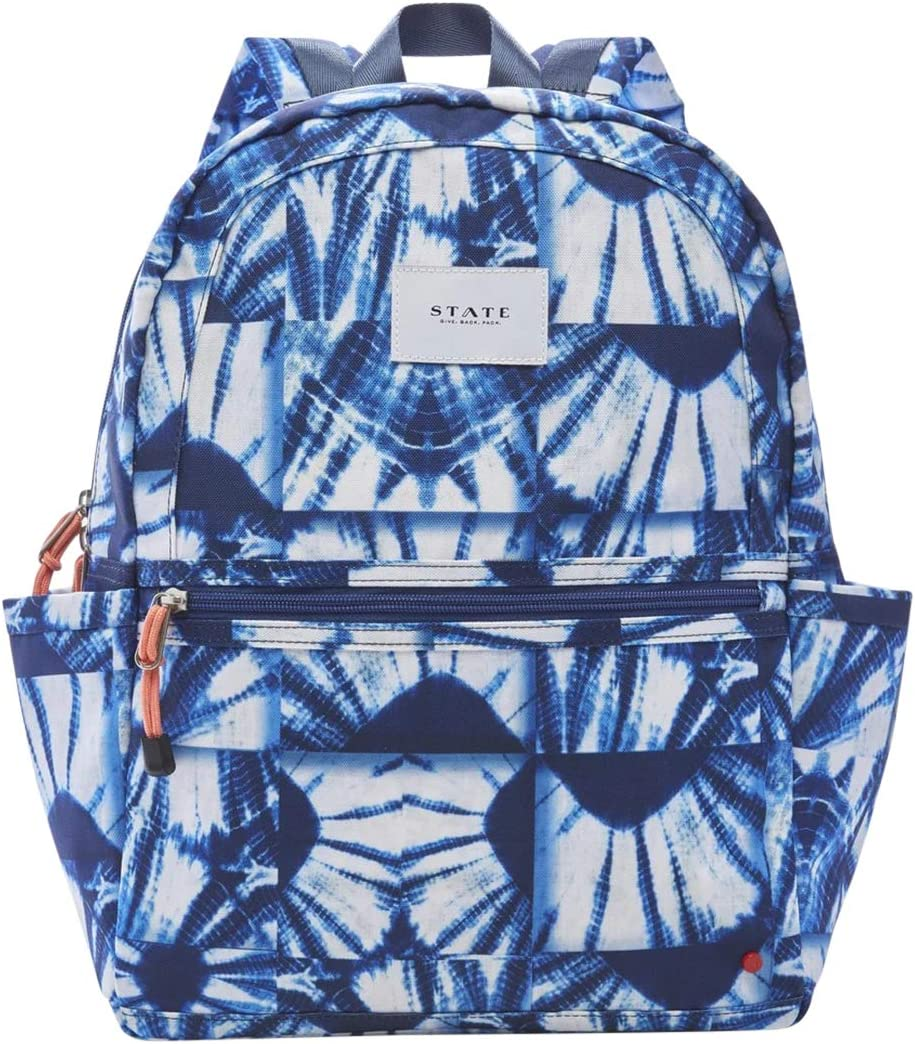 STATE Kane Kids Backpack, Indigo Patchwork in Recycled Poly Canvas