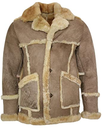 Men S Designer Long Winter Real Sheepskin Coat Amazon Co Uk Clothing
