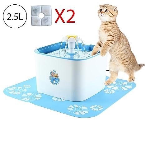 Leegoal Bebedero Gatos Perros Automatico, 2.5L Silenciosa Saludable Fuente de Agua para Gatos y