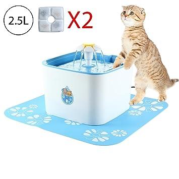Leegoal Bebedero Gatos Perros Automatico, 2.5L Silenciosa Saludable Fuente de Agua para Gatos y Perros, Dispensador de Agua para Gatos Perros Mascotas ...