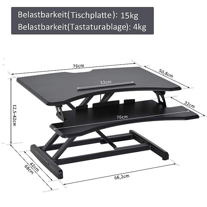 Schwarz Vitality 4 Life Extra breite Arbeitsplatte 90cm Höhenverstellbar Vitaldesk Sitz-Steh Schreibtisch Gasfedermechanismus sechs Einstellungen Ergonomisches Design