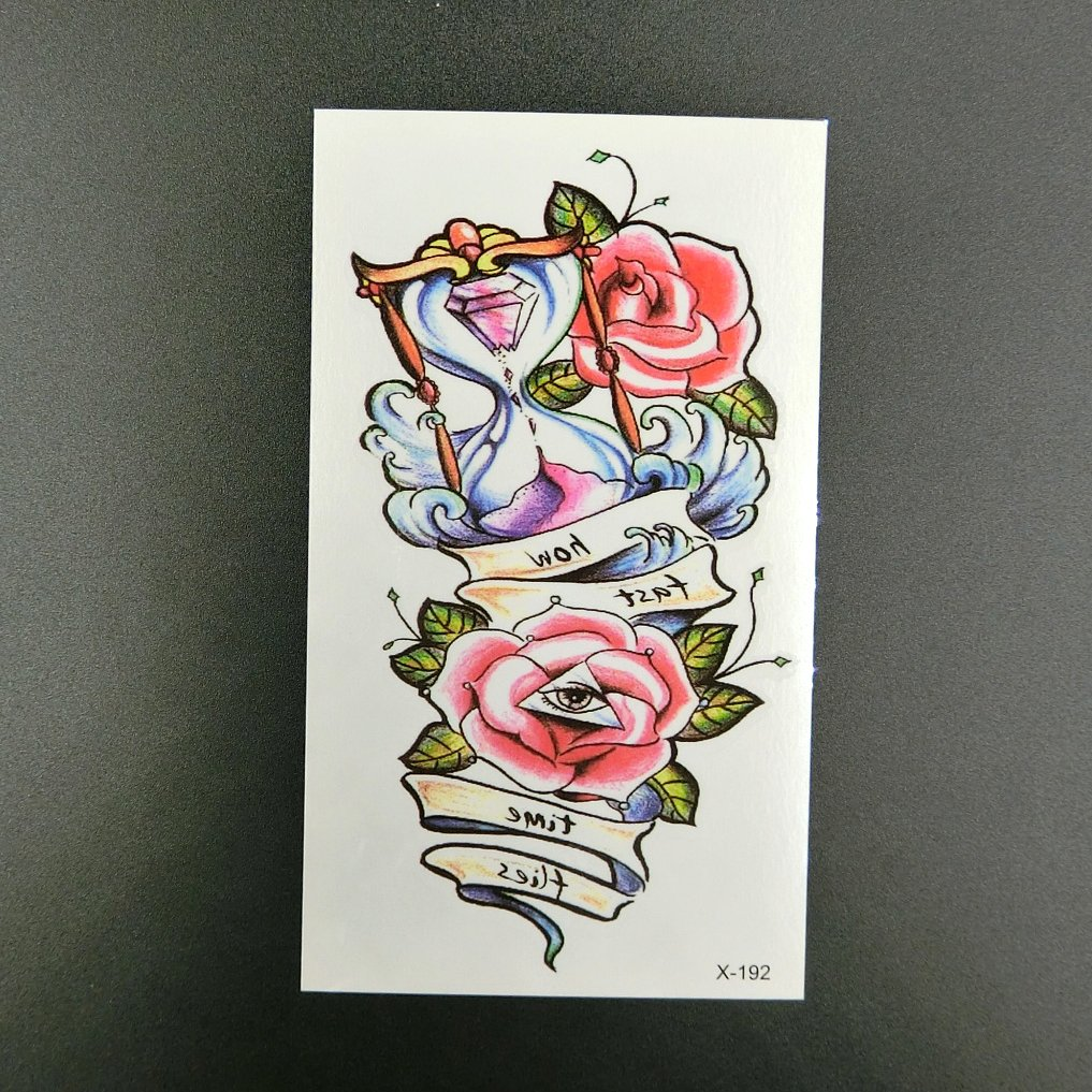 Amazon.com : Oottati Small Cute Temporary Tattoo Hourglass Rose (2 Sheets) : Beauty