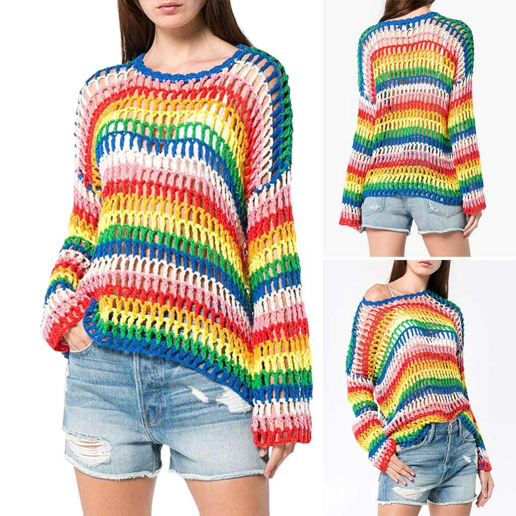 Women Sweater, Winter Stripe Rainbow Color Block Knitted Hollow Out Sweater Pullover Tunic Top Jinjiums Winter Stripe Rainbow Color Block Knitted Hollow Out Sweater Pullover Tunic Top Jinjiums (Multicolor Free Size)