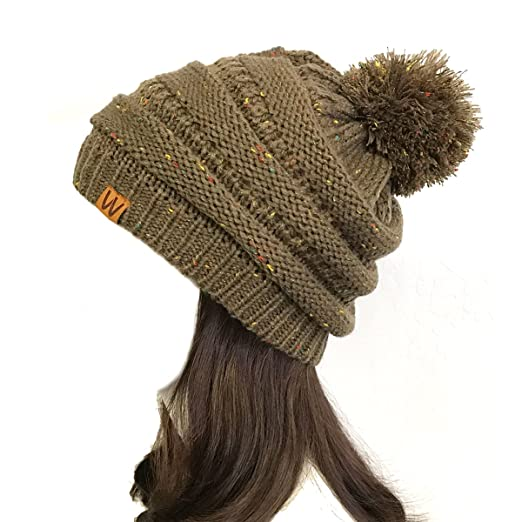 2c2e7bbd581 ALLYDREW Confetti Knit Slouchy Beanie with Pom Pom For Winter, Brown at Amazon  Women's Clothing store: